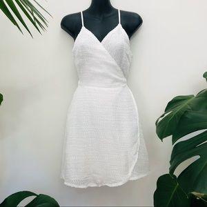 Saints + Secrets White Textured Wrap Dress Mini